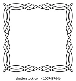 Square black Celtic frame. Isolated vector image on a background against a background.
