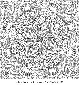 Square black and white hand drawn outline vector mandala colouring page for children, adults. Zentangle line art for meditation. Monochromic yoga print with plenty of details. EPS10, editable.