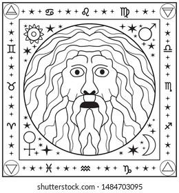 A square black and white picture with a Delphic oracle. An old man with long hair, a mustache and a beard, a fortuneteller and a clairvoyant.