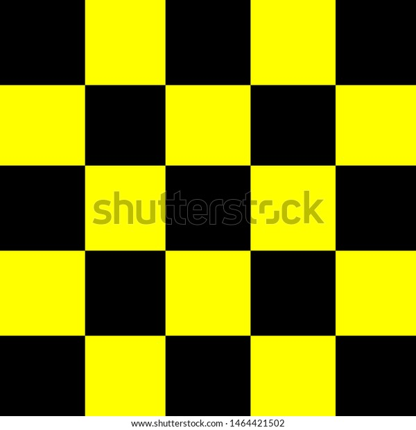 Square Black Yellow Background Seamless Checker Stock Vector