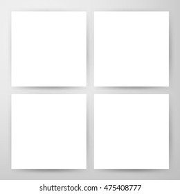 Square Blank Flyers Mockup. Vector Illustration of Paper Posters Design for Promotion.