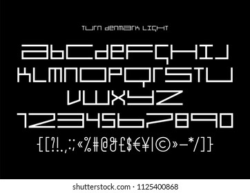 Square block geometric banner tape font, latin letters and numerals, simple modern blackletter display type that works for game screens and music bands covers, posters, prints, labels and packaging