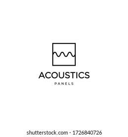 Square block wit acoustic waves, simple modern logo design for acoustic panel business, music studios, etc. Vector template