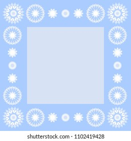 Square blue background with  mandala. Vector.