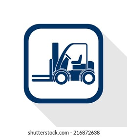square blue icon forklift truck with long shadow - symbol of logistic, building, safety and transport of goods