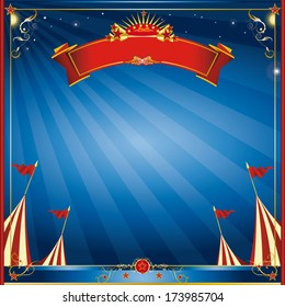 Square blue night circus invitation. A square circus invitation for you.