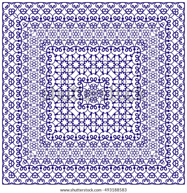 Square blue pattern on a white background. Decorative ornament to the handkerchief. Vector illustration.