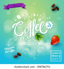 Square blue and yellow gradient background with strawberry, beans, leaves, logos and conceptual coffee sale symbols
