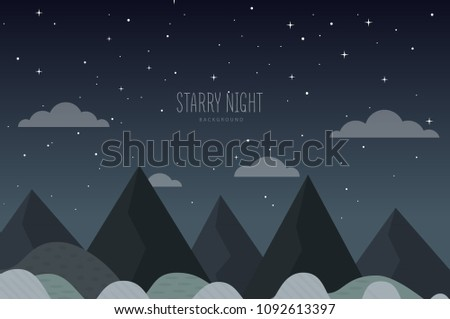 Square Blurred Mountain Night Stars Sky Stock Vector Royalty Free