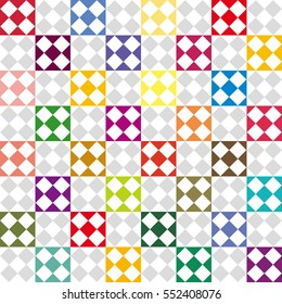 square board image,vivid color and gray scale tile - Geometric seamless pattern