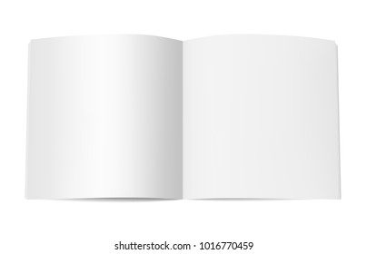 Square book booklet or magazine mock up. Template of opened notepad with blank pages isolated on white background. Vector realistic illustration
