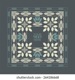 Square border with geometric flowers motifs in Egyptian style