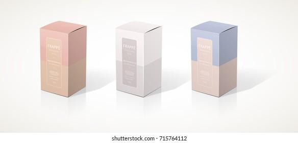 square box 3d packaging design illustration