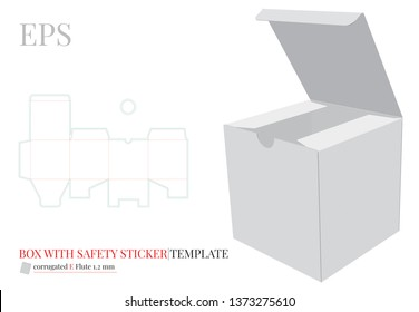 Square Box with Safety Sticker Template. Vector with die cut / laser cut layers. White, clear, blank, isolated Cube mock up on white background with perspective view. Packaging Design, 3D presentation