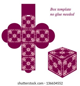 Square box template with floral elements, no glue needed. Vector illustration.