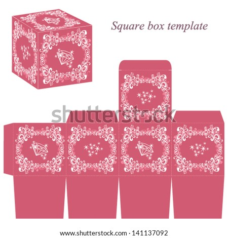 square box template floral elements shiny stock vector royalty free