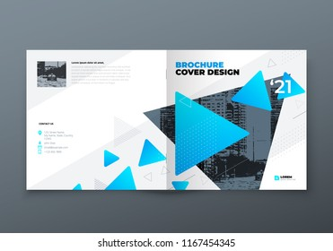 Square Brochure design. Blue corporate business rectangle template brochure, report, catalog, magazine. Brochure layout modern memphis abstract background. Vector concept