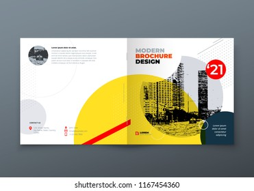 Square Brochure design. Corporate business rectangle template brochure, report, catalog, magazine. Brochure layout modern memphis abstract background. Vector concept