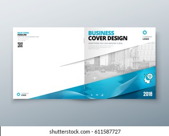 Square Brochure design.  Corporate business template for rectangle brochure, report, catalog, magazine. Layout with modern square photo and abstract triangle background. Creative vector concept