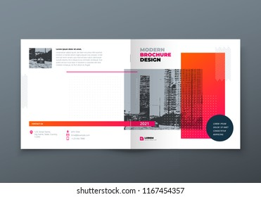 Square Brochure design. Orange corporate business rectangle template brochure, report, catalog, magazine. Brochure layout modern memphis abstract background. Vector concept