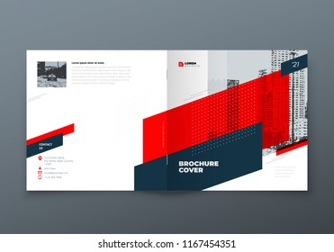 Square Brochure design. Red corporate business rectangle template brochure, report, catalog, magazine. Brochure layout modern memphis abstract background. Vector concept