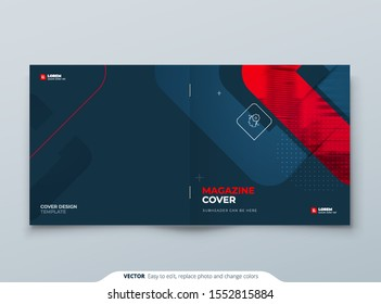 Square Brochure Design. Red Cover Template for Brochure, Report, Catalog, Magazine. Modern Brochure concept