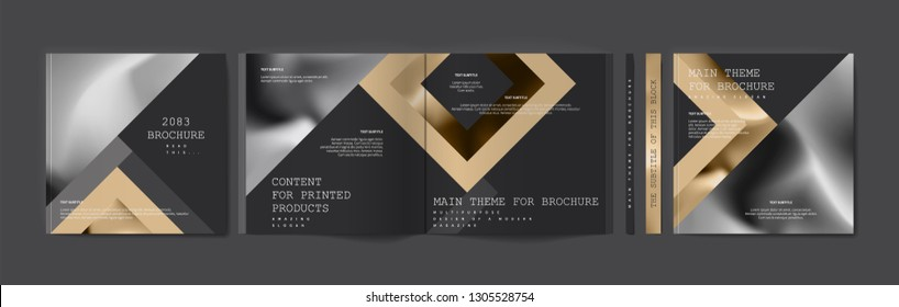Square brochure template design. Cover business annual report, catalog, magazine, journal mockup, modern printed product, book, booklet, album, information poster. Ad flyer text font - Vector