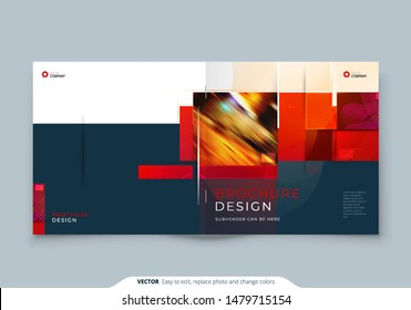 Square Brochure template layout design. Corporate business annual report, catalog, magazine, flyer mockup. Creative modern bright concept with square shapes