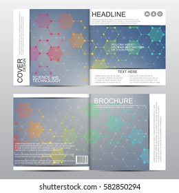 Square brochure template with molecular structure. Geometric abstract background. Medicine, science, technology. Vector illustration.