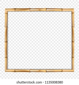 Square brown wooden border frame made of realistic brown bamboo sticks with empty copy space for text or image inside. Vector clip art, banner, poster or photo frame isolated on transparent background