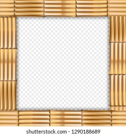 Square brown wooden border frame made of realistic dry bamboo sticks with rope, empty copy space for text or image. Vector clip art, banner, template or photo frame isolated on transparent background
