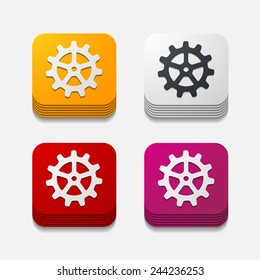 Square button with wheel in modern style