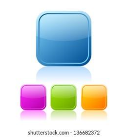 Square buttons set, vector clip art