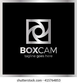 Square Camera Shutter Logo - Box Photo. Luxury, royal metal silver