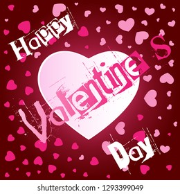 Square card for the day of St. Valentine. Small pink hearts around a bright large. Gradient Background