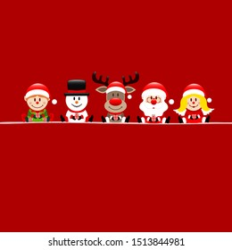 Square Card Elf Snowman Reindeer Santa And Angel Red