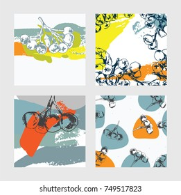 Square cards set with hand drawn aronia berries decoration. Black, blue and orange palette on white background. Vector collection