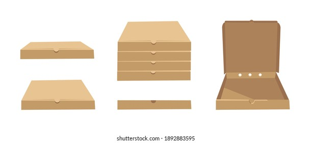 Square Carton Assembly Box for Pizza. Cartoon Style Illustration Delivery Packaging. Flat Graphic Design Clip Art. Vector Collection Mockup Isolated