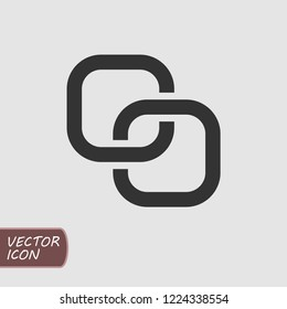 Square chain rings flat vector icon.