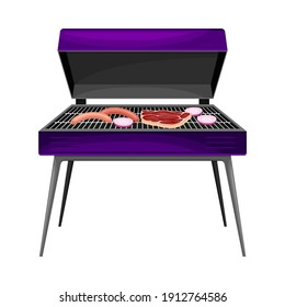 Square Charcoal Barbecue Grill with Metal Grid for Cooking Food and Lid Vector Illustration