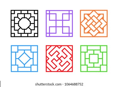 Square Chinese window frame in flat vector art