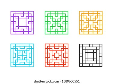 Square Chinese window frame with line pattern, vector