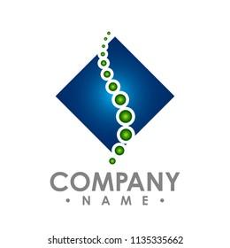 square chiropractic spine logo design vector anatomy logo