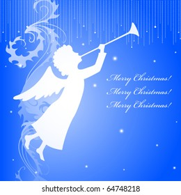 A square christmas card with an angel silhouette