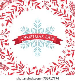 Square Christmas Sale banner template with ornate red floral frame and snowflake. Vector illustration.