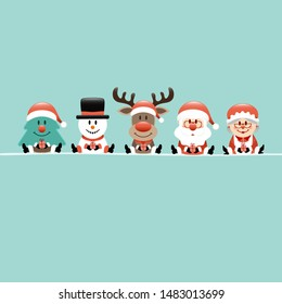 Square Christmas Tree Snowman Reindeer Santa And Wife Turquoise