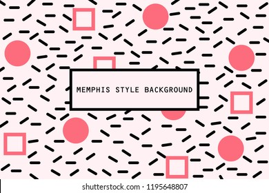 Square and Circle shape in memphis pattern background
