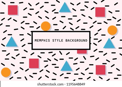 Square, Circle and Triangle in memphis pattern background