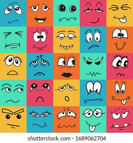 Square colorful kids seamless pattern with doodle, cartoon, hand drawn faces characters. Stock vector illustration for print on textile, decorative paper, wallpaper, gift wrap,book cover,greeting card