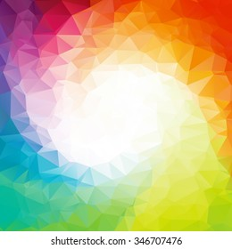 Square Colorful rainbow polygon background or vector frame. Rainbow colors.